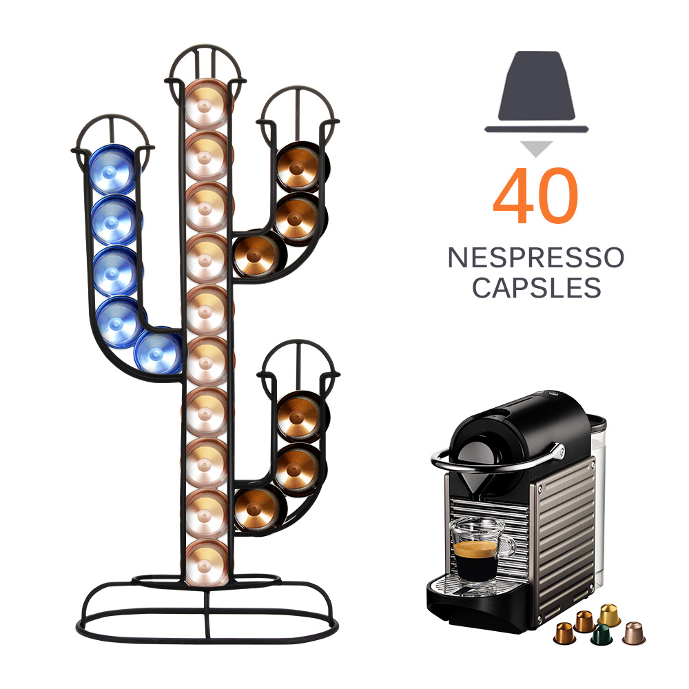 Nespresso Capsule Holder Stainless Steel For 40pcs Coffee Pod Holder Creative Cactus Dispenser Coffee Dispensing Tower Stand Fit