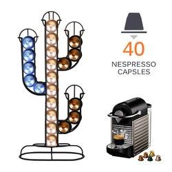 Nespresso kapsül tutucu paslanmaz çelik 40 adet kahve Pod tutucu yaratıcı kaktüs dağıtıcı kahve dağıtım kulesi Fit standı