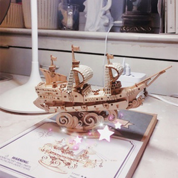 Laser Cutting Sailing boat Fishing ship Cruise Toys 3D puzzle game wooden assembling Model Building Kits Toy  Gift for Children luckk 80cm diy danmark assembling building kits wooden model ships exquisite home interior decoration crafts sailboat toys gift
