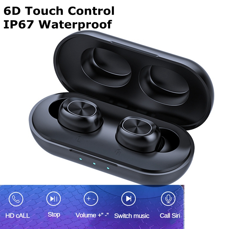 B5 TWS Wireless Earphones Waterproof 6D Stereo Headsets Bluetooth 5.0 Touch Control Earbuds 300mAh Powerbank Headset With Mic