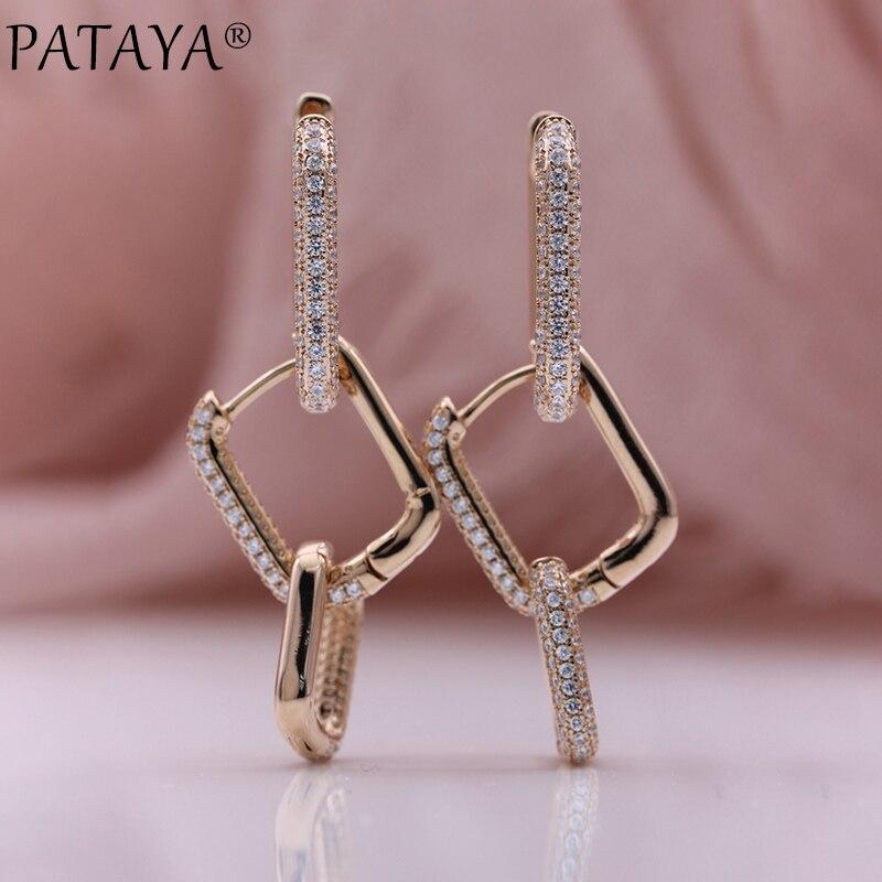 PATAYA New 585 Rose Gold Micro Wax Inlay Natural Zircon Long Earrings Women Square Dangle Earrings DIY Creative Fashion Jewelry