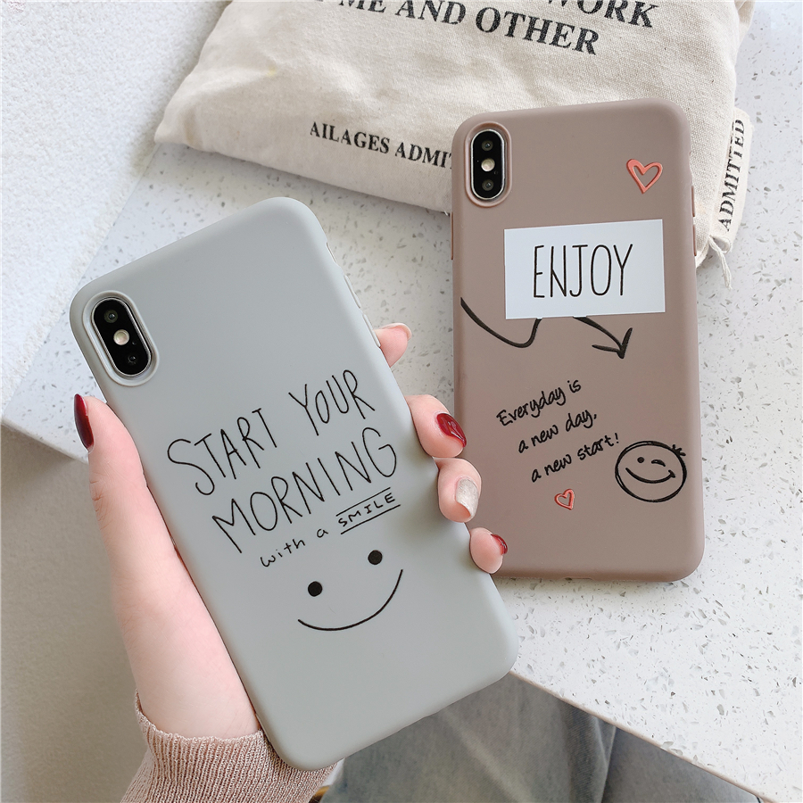 Smiling Face Phone Case For IPhone 11 Pro 6 6s 7 8 Plus X XR XS Max  Fashion Graffiti Candy Color Letter Soft TPU For IPhone X