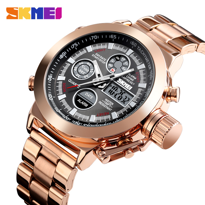 SKMEI Fashion Dual Display Watch Luxury Men Watch 3Bar Waterproof Stainless Steel Strap Luminous relogio masculino 1515 Clock