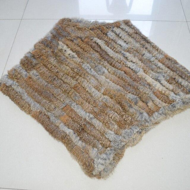 Autumn Winter Lady Genuine Knitted Rabbit Fur Poncho Wrap Scarves Women Natural Rabbit Fur Shawl Triangle Cape Wholesale Retail 6