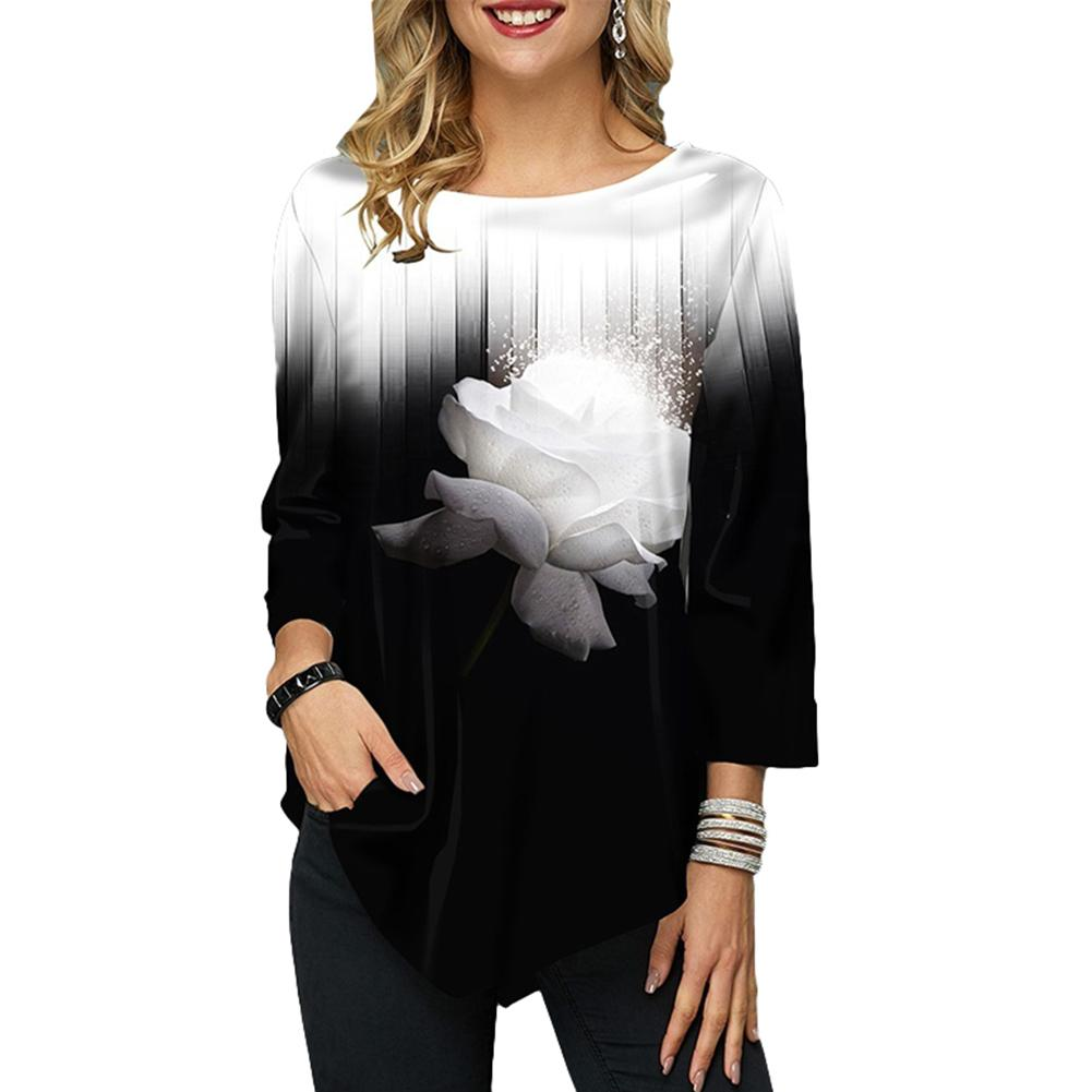 Hot apparel Women Shirt Autumn Gradual Floral Print O Neck Long Sleeve Asymmetric T-Shirt O Neck Long Sleeve Asymmetric T-Shirt