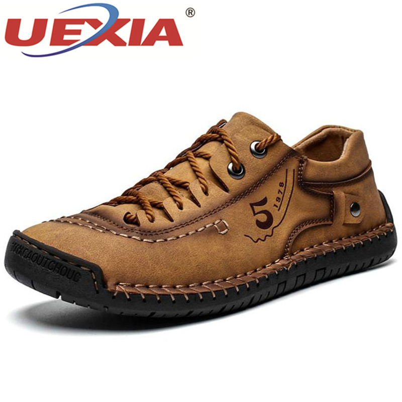 UEXIA Fashion High Quality Men Casual Shoes Spring Autumn Breathable Outdoor Lether Sneakers Sport Anti-slip Walking Footwear