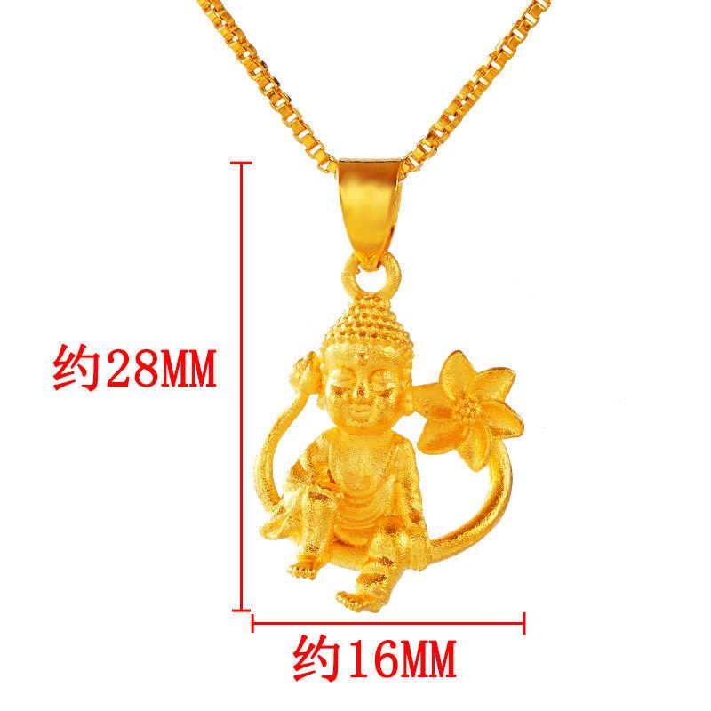OMHXFC ขายส่ง PN453 ยุโรปแฟชั่นร้อนผู้หญิงสาววันเกิดงานแต่งงานของขวัญ Lotus พระพุทธรูป 24KT Gold จี้ Charm