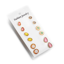 Bohemia Flower Stone Stud Earrings Set For Women Fashion Round Earring Statement Ethnic Party Jewelry Wedding Bride Gifts