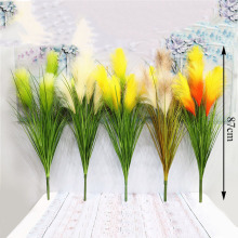 цена на 5 Head Mini Reed Grass Artificial Cheap Fake Flowers for Wedding Home Decoration DIY Craft Gift Scrapbooking Fake Flower Wreath