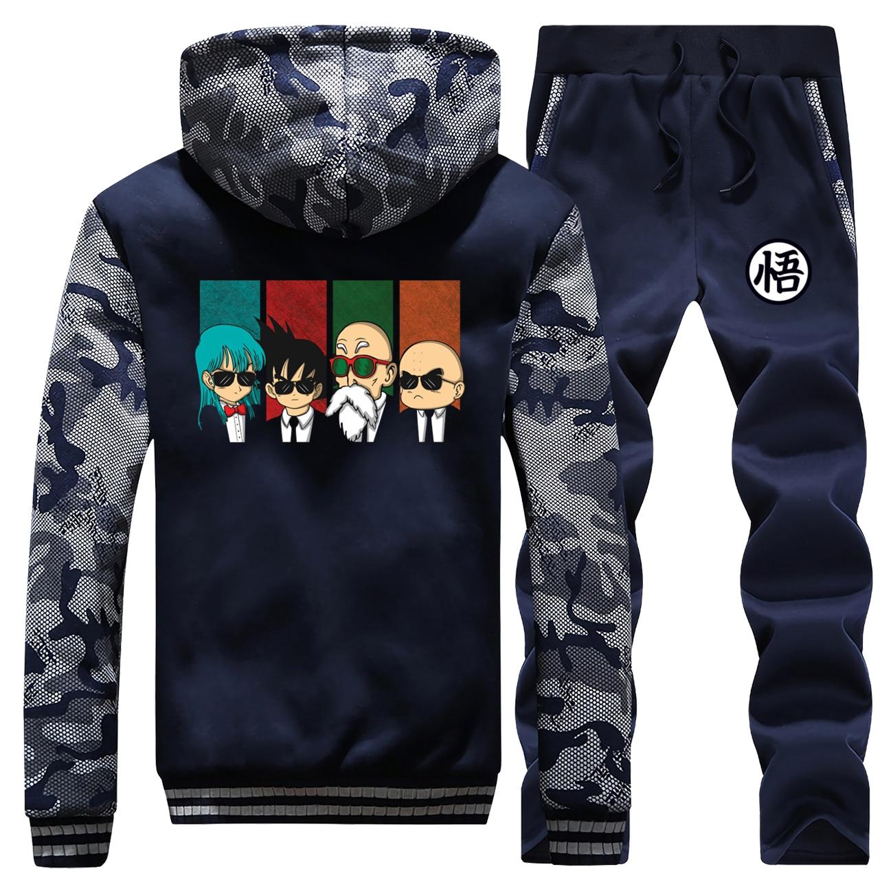 Men Winter Zip Jacket+Pants 2 Piece Sets Anime Dragon Ball Thick Hoodie Sweatshirt Funny Hip Hop Tracksuit New Design Hoodies