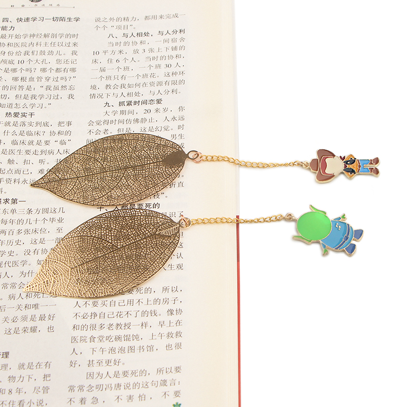 CA790 Wholesale 10pcs/lot Dog Metal Bookmarks For Books Leaf Context Chain Bookmarks Office Accessories School Stationery Items