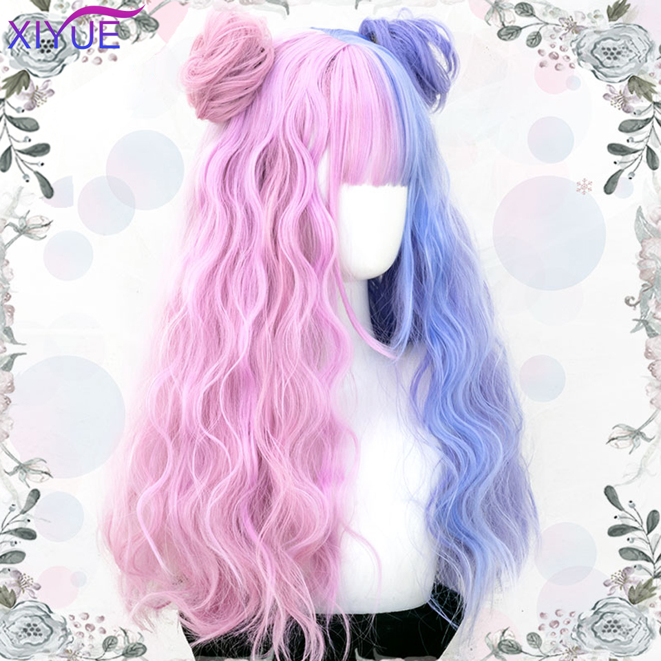 XIYUE Blue Pink Lolita Wigs Gradient Long Wave Cosplay Wigs Bobo Kawaii Halloween Wig Heat Resistant Two-Color Synthetic Hair