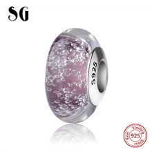 SG silver 925 sparkling Murano glass beads purple color charms with water droplets fit authentic pandora bracelets jewelry gift
