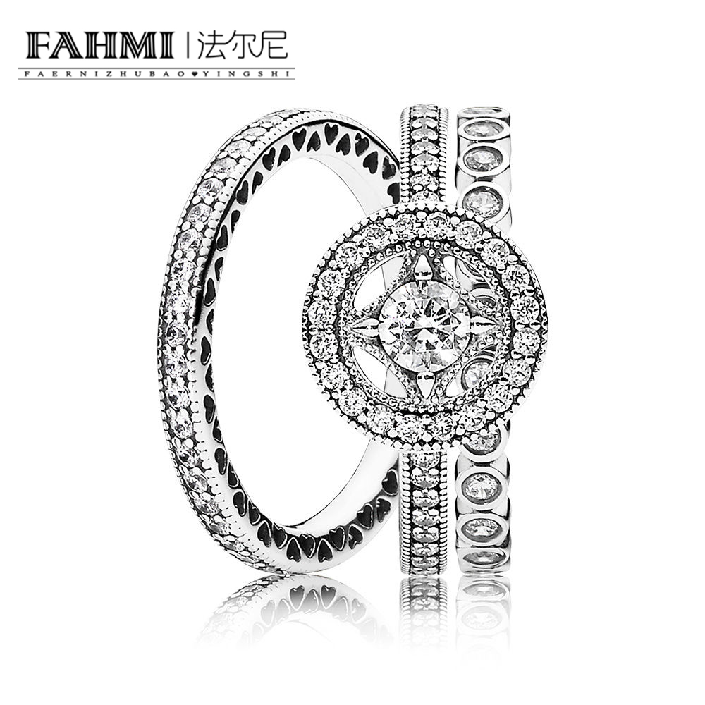 FAHMI 100% 925 Sterling Silver  VINTAGE ALLURE RING HEARTS OF SILVER STACKABLE RING ALLURING SMALL BRILLIANT CUT RING Set RAU011
