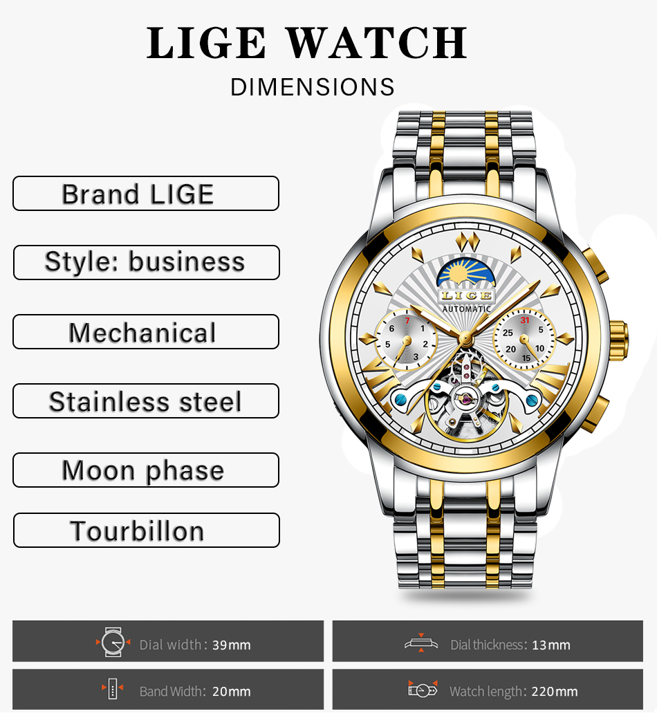 LIGE Official Store Mens Watches Top Brand Luxury Automatic Mechanical Business Clock Gold Watch Men Reloj Mecanico de Hombres H0a6dcc69497440b5b5ff9f8444444f5bC