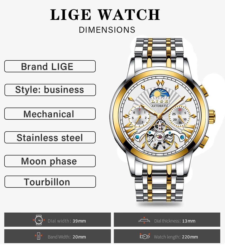 H0a6dcc69497440b5b5ff9f8444444f5bC LIGE Official Store Mens Watches Top Brand Luxury Automatic Mechanical Business Clock Gold Watch Men Reloj Mecanico de Hombres