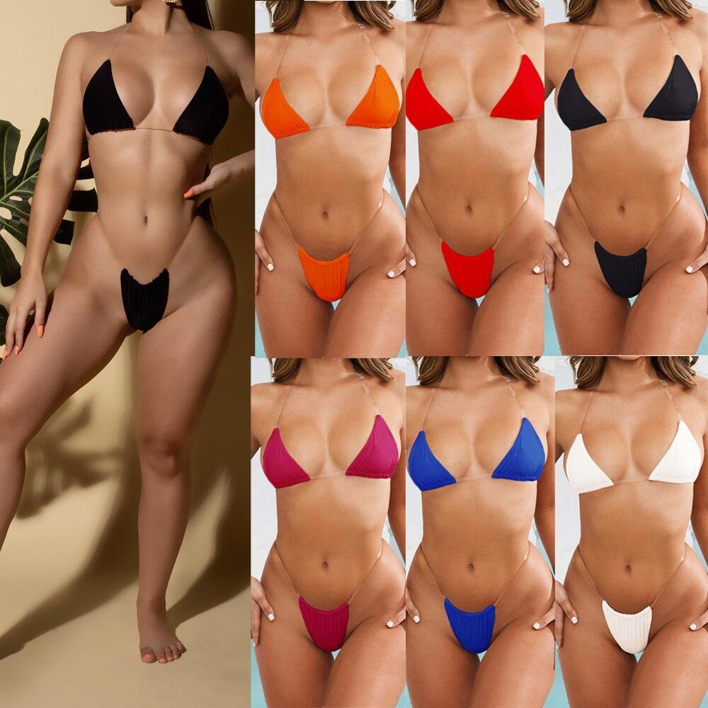 New 2020 Summer Women Sexy Bikini Set Solid Color Swimsuits Transparent Shoulder Strap Swimwear Transparent Strap Beach