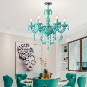 Image 4 - Modern Crystal led chandelier for living room Bedroom Kitchen light Fixtures lustre de cristal teto Green Color glass chandelier