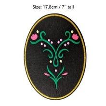 "7"" Anna Princess Dress Decoration logo large felt applique Film MOVIE Cartoon Girl Dress Embroidered Patches for clothes"
