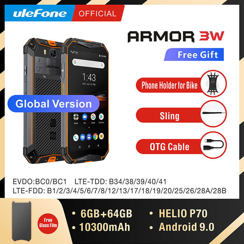 Ulefone armor 3W IP68 Waterproof  Rugged Mobile Phones Android 9.0 Helio P70 6G+64G Face ID NFC Global Version 4G-LTE Smartphone