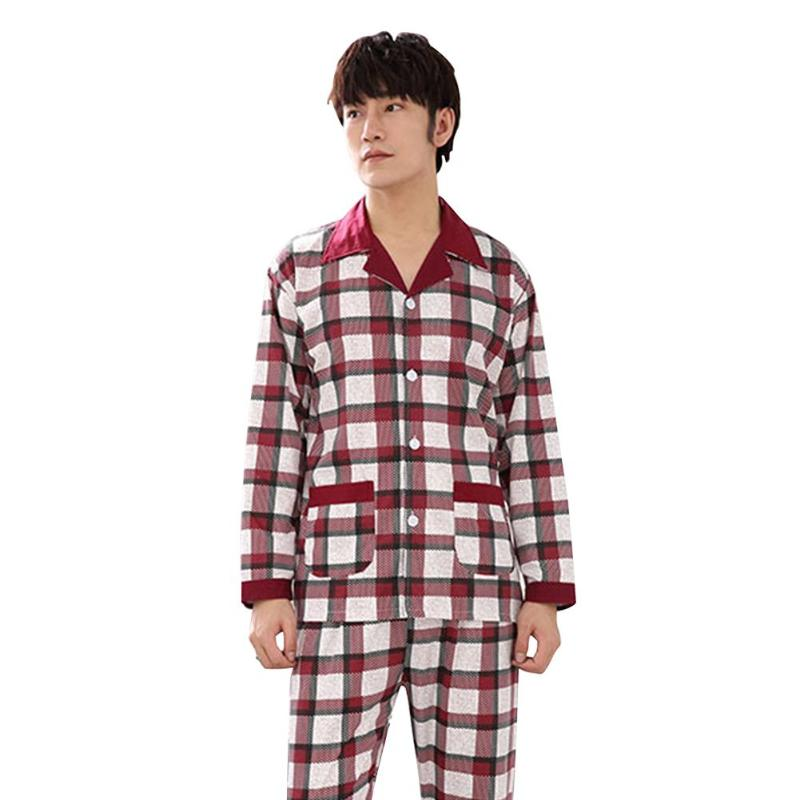 2pcs Autumn Winter Cotton Pajama Set Delicate Design Cardigan Men Superb Craftsmanship Long Sleeve Casual Home Wear