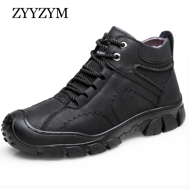 ZYYZYM Boots Men Fur Winter Outdoor Warm and Thick Wool Cotton Shoes Men