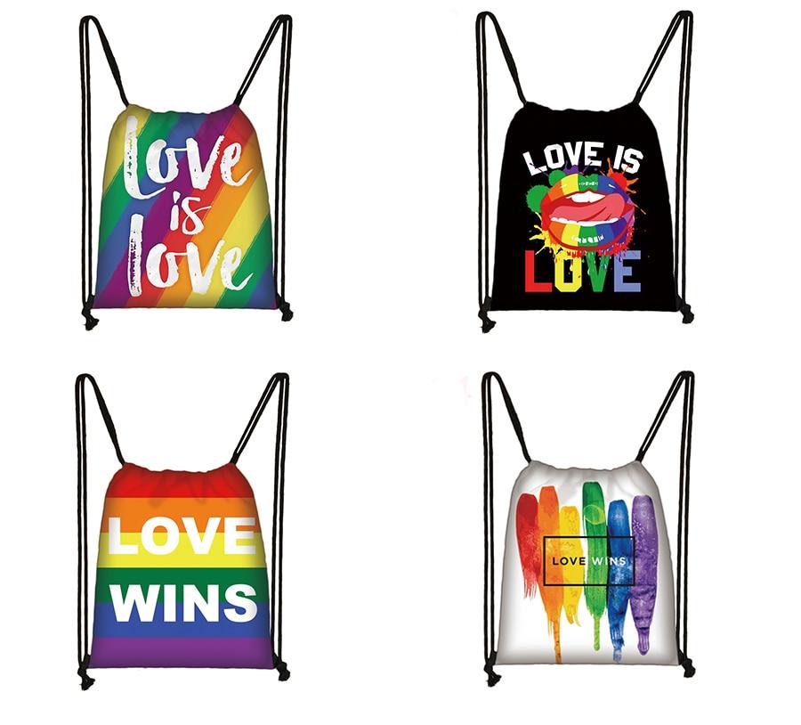 Lgbt Drawstring Bag  Female Bisexual Lesbian Gay Love Is Love Travel Bag Women Lesbian Rainbow  Backpack Fashion Storage Bag