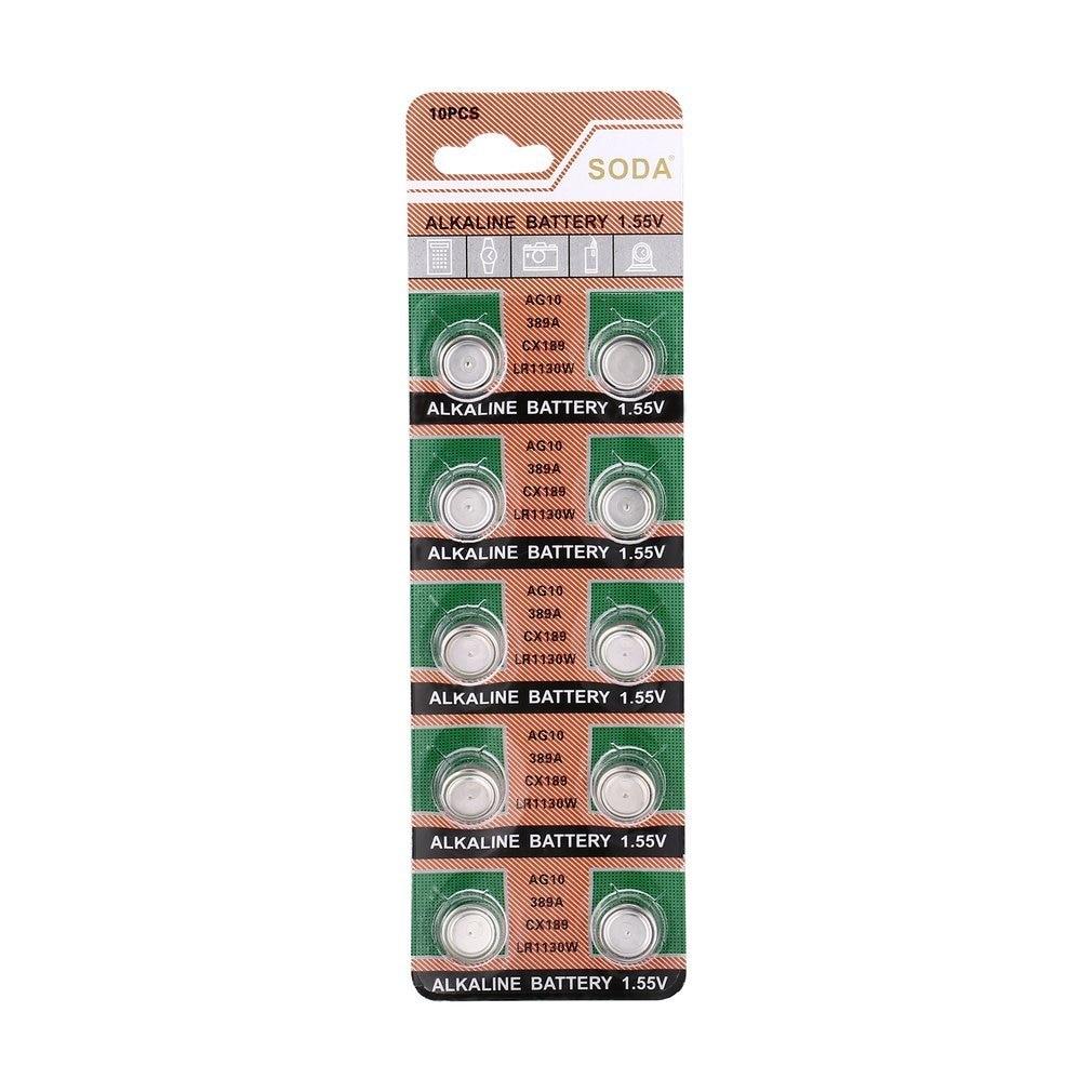 10pcs/pack AG10 LR1130 389A LR54 L1131 189 Alkaline 1.5V Cell Button Battery For Watch Clock Promotion