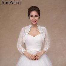JaneVini 3/4 Long Sleeves Women Jacket Lace Appliqued Wedding Coat White See Through Bride Bridal Cloak Shawl Boleros Cape Stole