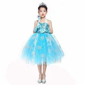 Image 5 - Meninas sequin floco de neve congelado 2 vestido crianças princesa congelado traje azul vestido de verão para crianças flor meninas vestido de festa roupas