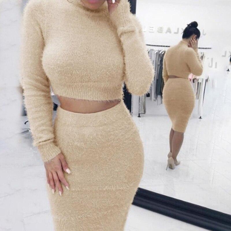 Women 2 PCS Set 2019 Autum Short Pullover Long Sleeve Crop Top Jumper + Knee-Length Bodycon Skirt Autumn Women Knit Set