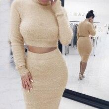 Women 2 PCS Set 2019 Autum Short Pullover Long Sleeve Crop Top