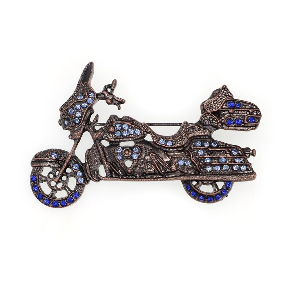 Модные ювелирные изделия стразы брошь в форме мотоцикла булавка для мужчин