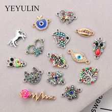 10Pcs Crystal Tree Of Life Pattern Alloy Connectors Palm Charms DIY Pendant Necklace Fashion Jewelry Findings