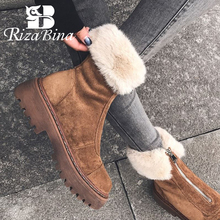 Winter Shoes Short-Boot Platform High-Heel Rizabina-Size Real-Leather Women Plush 34-43