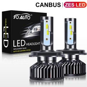 Image 1 - Ampoules pour phares de voiture, LED, 2 pièces ZES puces LED H4 Canbus H1 H3 H7 H8 H11 HB3 9005 HB4 9006 H27 880 881, lampe frontale automatique 12V 5000K
