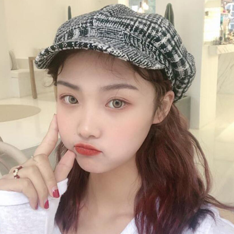 HT2615 Women Hat Octagonal Newsboy Cap Autumn Winter Vintage Beret Retro Lady Plaid Artist Painter