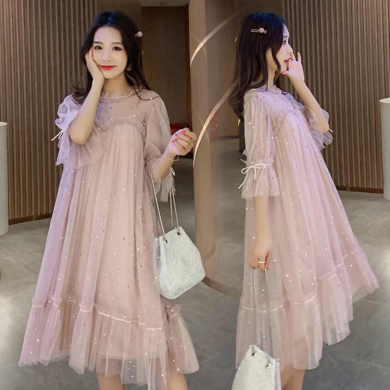 Maternity dresses fairy sequined maternity gown  pregnant women's loose mesh fairy clothes pregnancy clothes dress