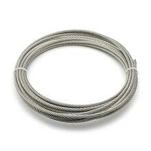 5 метров 304 нержавеющая сталь 1 мм 1,2 мм 1,5 мм 2 мм диаметр стальной проволоки голый канат подъемная Кабельная линия бельевая линия нержавеющий 7*7