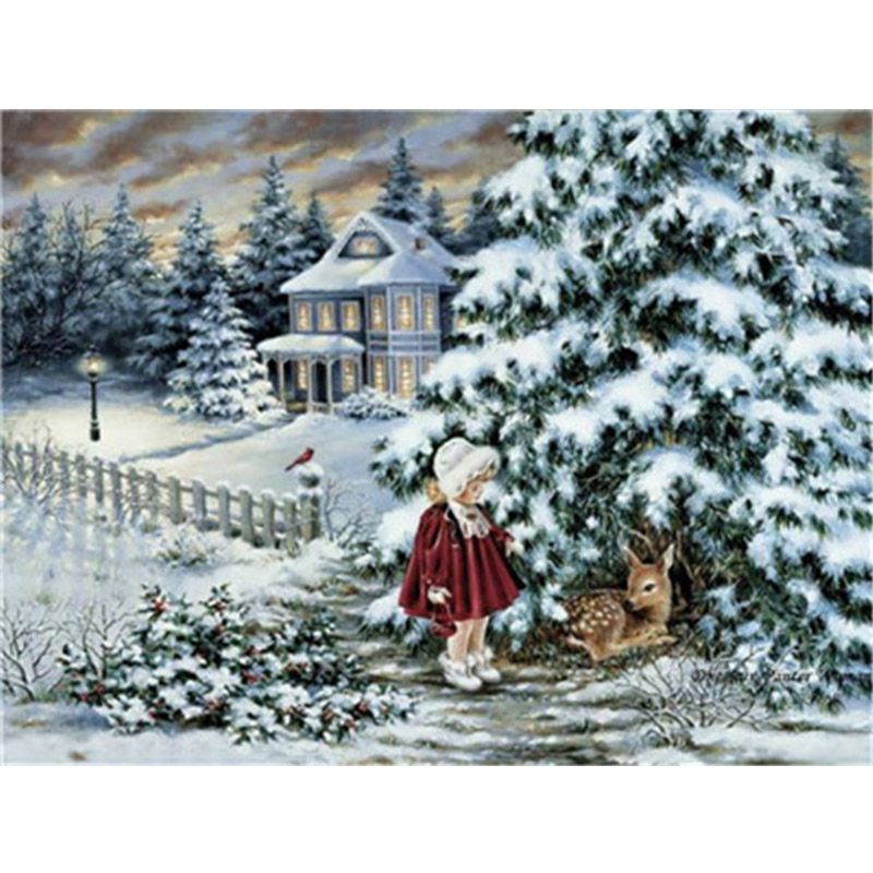 DIY Winter Scenery Oil Painting By Numbers Full Kits Paints By Number Canvas Painting Home Decor 50x40cm For Adults