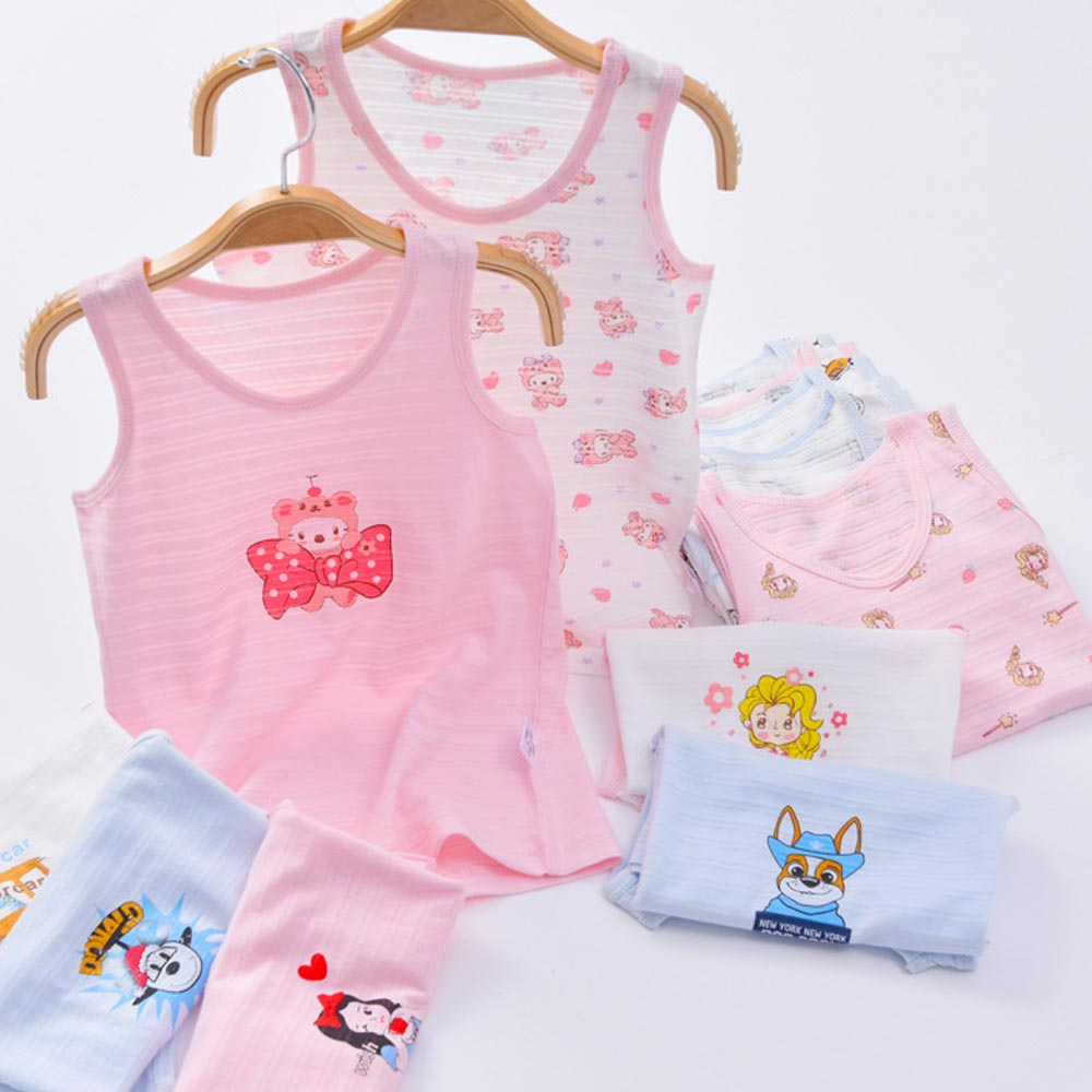 Cotton Tshirts O Neck Cartoon Undershirt Summer Tank Tops For Baby Girls Boys Vest T-shirt Kids Casual Sleeveless