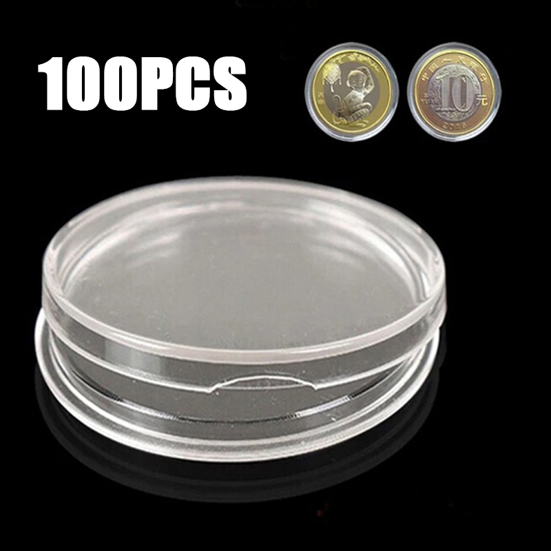 100Pc//set 19mm Coin Holder Capsules Clear Plastic Container Storage Case Box Kit