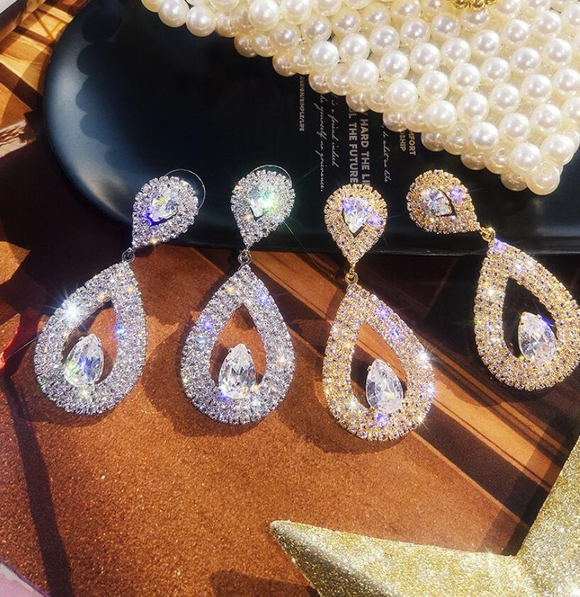 Zircons Classic Water Drop Shaped Cubic Zirconia Crystal Bridal Earrings Wedding Jewelry For Brides Bridesmaid
