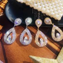 Zircons agua clásica en forma de gota Zirconia cúbica cristal pendientes de novia joyería de boda para novias dama de honor