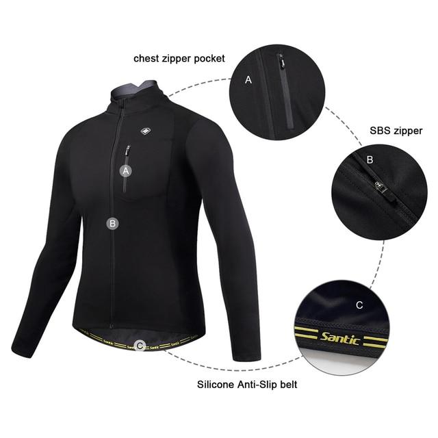 Santic roupas de ciclismo, roupas esportivas térmicas à prova de vento reflexivas para bicicleta, casaco e calças para ciclistas, tamanho asiático 3