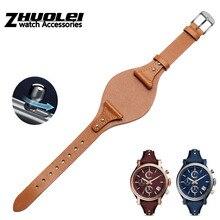 Bracelet en cuir de veau première couche, pour femmes ES3616 ES3838 ES4114, bracelet montre en cuir véritable de 18mm, libération rapide