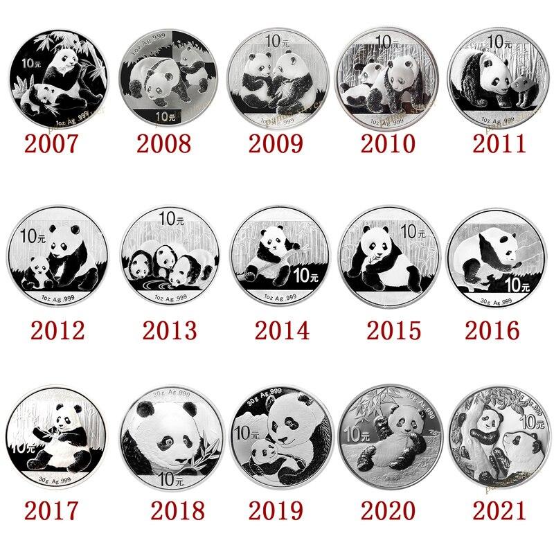 2007 - 2021 Серебряная Памятная монета панда, настоящее Оригинальное серебро для коллекционной монеты, китайский Новогодний подарок на 10 юаней