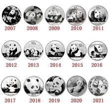 2007 - 2021 panda moeda comemorativa de prata, prata original real para a moeda da coleção, china 10 yuan presente do ano novo
