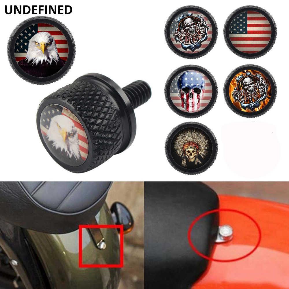 Evrensel arka kütük motosiklet koltuk montaj tırtıllı cıvata vidalı kapak için Harley Softail Dyna Sportster 2009-2014 bijon cıvatası kapaklar