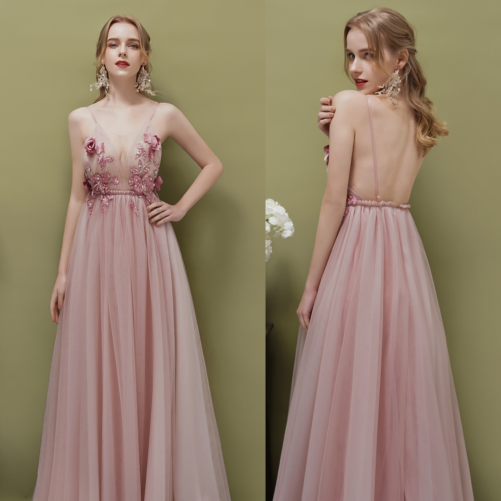 Deep V-neck Sexy Backless Tulle Pink Sequined Beading Evening Dresses With Flower